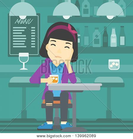 An asian sad woman sitting at the bar with glass of alcoholic beverage. Young woman sitting alone at the bar and drinking alcohol. Vector flat design illustration. Square layout.