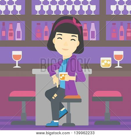 An asian young woman sitting at the bar counter. Woman sitting with glass in bar. Cheerful young woman sitting alone at the bar counter. Vector flat design illustration. Square layout.