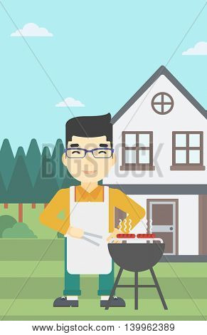 An asian man cooking meat on the barbecue grill in the backyard. Man preparing food on the barbecue grill. Man having outdoor barbecue. Vector flat design illustration. Vertical layout.