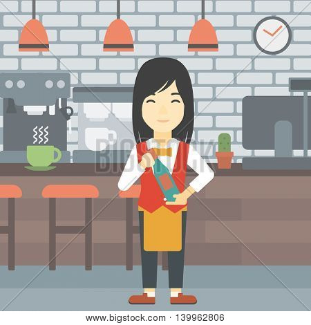 An asian young waitress holding a bottle in hands on the background of a cafe. Vector flat design illustration. Square layout.