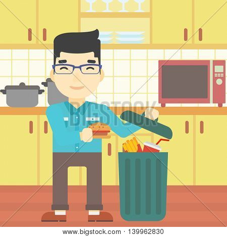 An asian man putting junk food into trash bin. Man refusing to eat junk food. Man throwing junk food on the background of kitchen. Diet concept. Vector flat design illustration. Square layout.