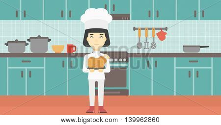 An asian chief cooker holding roasted chicken in the kitchen. Chief cooker with whole baked chicken. Chief cooker with fried chicken. Vector flat design illustration. Horizontal layout.