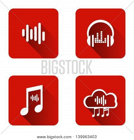 Set of icons for music streaming service. Logos music streaming.