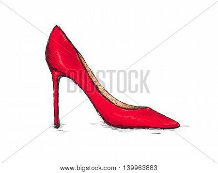 Shoes Red Women High Heels Sketch