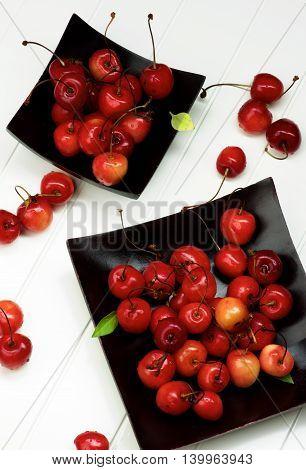 Arrangement of Fresh Ripe Sweet Maraschino Cherries in Black Wooden Plates closeup on Plank White background. Top View