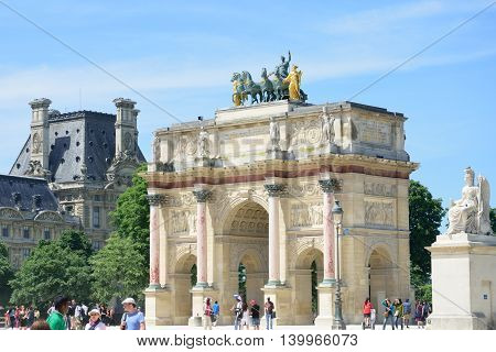 PARIS FRANCE 7 JUNE 2015: Arc de Triomphe Carrousel