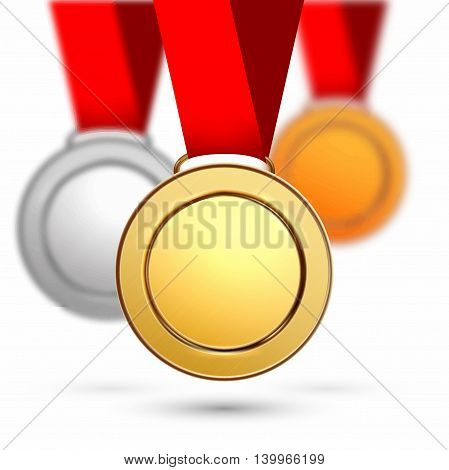Gold silver bronze medal  isolated on a white background.