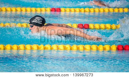 NORRKOPING, SWEDEN - JULY 9, 2016: World champion swimmer Sara Sjostrom swimming butterly stroke. She is Sweden's best hope for an Olympic gold medal in Rio 2016.