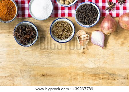Background ingredient food indian style on wooden table.1