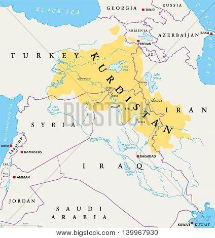 Kurdistan Kurdish Lands Political Vector Photo Bigstock