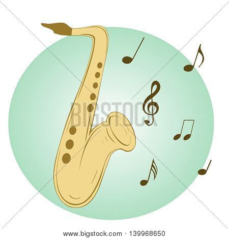 Stylish illustration of saxophone  for slogan, poster,  flier or etc. Sax and musical notes  on blue background, can be used with any image or text. Vector. Square location.