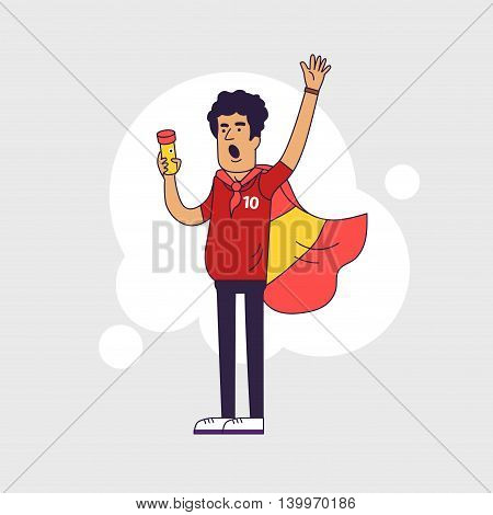 Fan of Spain national football team sports. Character with flag in the national colors. Flat line style design