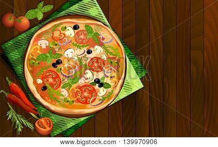 Pizza with mushroom and tomato chilli herbs on board on napkin on wooden background. Illustration for pizza menu or pizzeria interior design. Text place. Vector illustration stock vector.