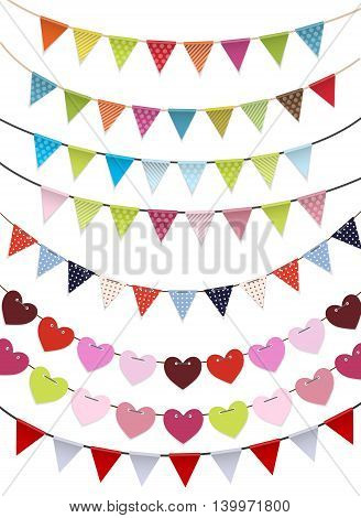 Party Flags Garland Set Vector Illustration EPS10