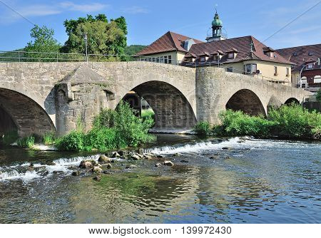 Village of Obermassfeld at River Werra in Thuringian Forest near Meiningen,Thuringia,Germany