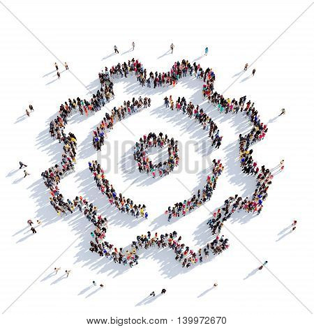 Large and creative group of people gathered together in the form of a cog , gear. 3D illustration, isolated against a white background. 3D-rendering.
