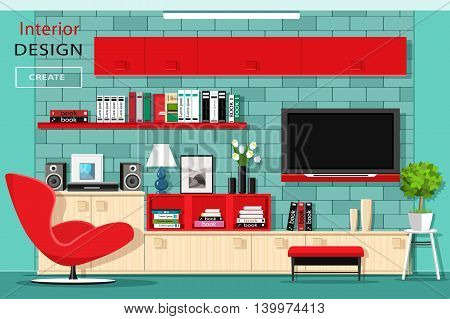 Modern graphic living room furniture with TV wall. Stylish room interior with red cupboards. Flat style vector illustration.