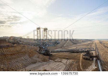 Bucket wheel excavator in a brown coal open pit mine.