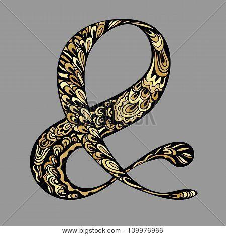 Golden gamut Ampersand sign. Elegant hand drawn ampersand for wedding invitation.  Decorative element. Hand lettering black and gold drawing zenart. Vector illustration.