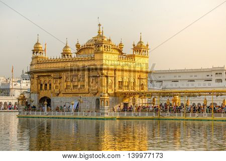 Amritsar, India - March 29, 2016: Golden Temple (Harmandir Sahib) in Amritsar, Punjab, India