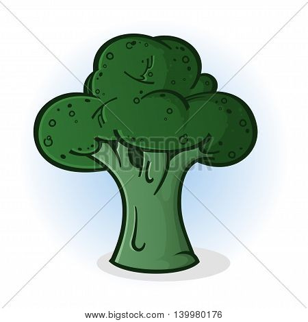 A Green Broccoli Floret Vegetable Cartoon Illustration