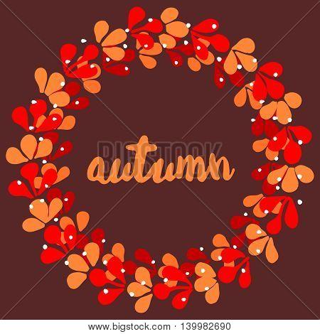 Autumn wreath vector card isolated on dark background