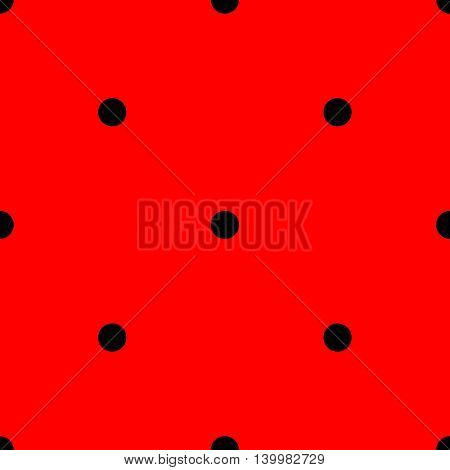 Tile vector pattern with black polka dots on red background