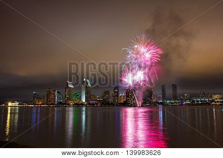 San Diego 4th of July fireworks over city skyline. Long exposure night capture.