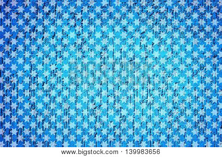 Cyan Plaster Wall In Form Of Raindrops Vignetting Texture White Stars Styled