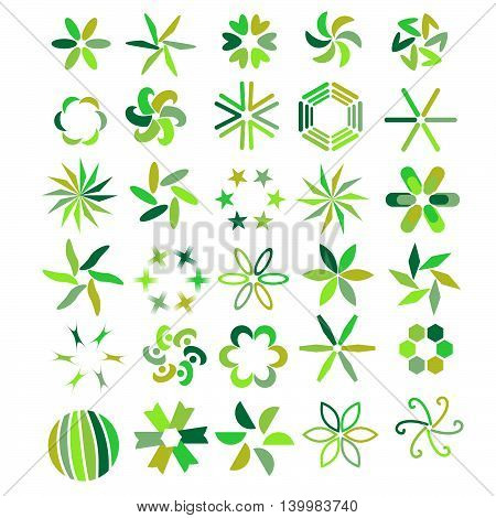 Green symbol collection isolated over white background
