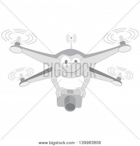 Drone with camera. Isolated. Series cartoon Drones