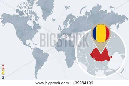 Abstract Blue World Map With Magnified Romania.