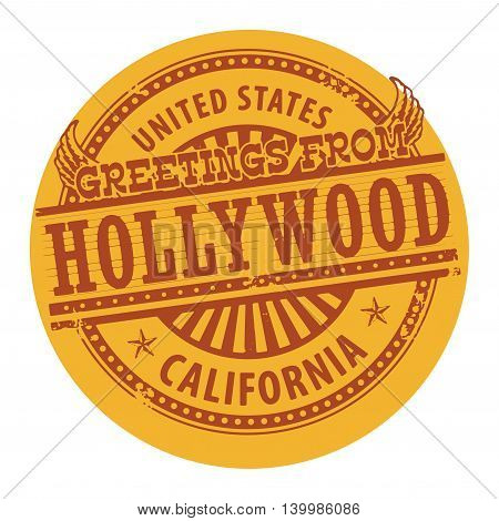 Grunge color stamp with text Greetings from Hollywood, vector illustration
