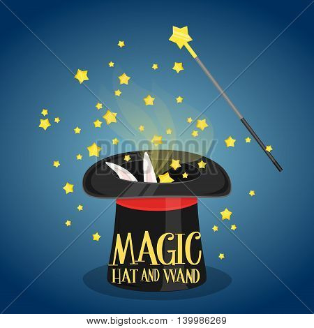 Magic hat and magic wand with sparkles wizard trick concept vector illustration. Magic hat rabbit and magic wand. Cartoon magic hat with rabbit. Black vector magic hat. Magic hat with rabbit vector.