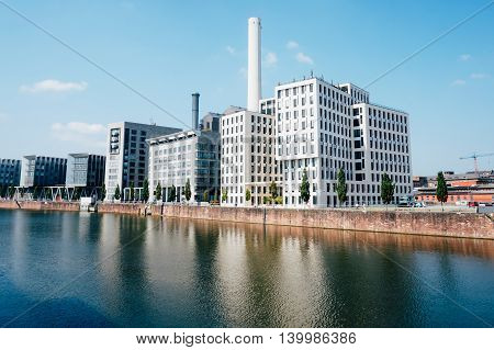 The river Main at Frankfurt Germany with buildings near it