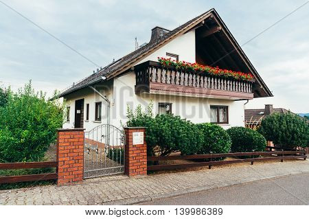 Front view of a modern German house in Dickschied Germany