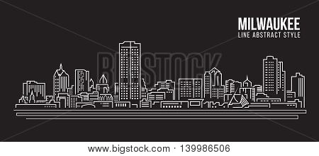 Cityscape Building Line art Vector Illustration design - Milwaukee city