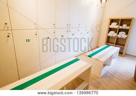 Closeup of nice and modern locker room