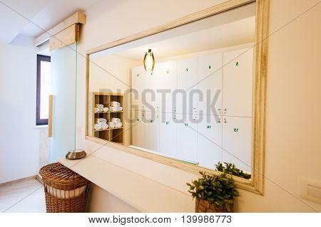 Interior of a bright and elegant locker room