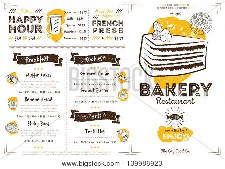 Bakery cafe flyer. Hand drawings bakery elements. Vintage menu. Menu card. Bakery restaurant menu design. Bakery cafe menu. Food menu template. Gourmet menu board. Bakery restaurant flyer vintage design vector illustration.