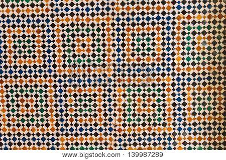 Marrakesh Morocco - February 8 2015:Geometric shape handmade mosaic floor in Bahia Palace.