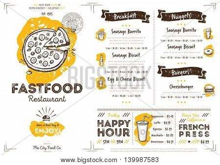 Pizza restaurant menu design. Fast food cafe menu. Food menu template. Pizza restaurant flyer vintage design vector illustration. Gourmet menu board. Fast food cafe flyer. Hand drawings fast food elements. Vintage menu. Menu card. Pizza.