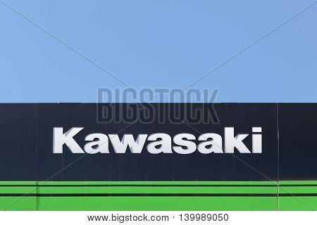Lyon, France - July 3, 2016: Kawasaki is a Japanese public multinational corporation primarily known as a manufacturer of motorcycles, heavy equipment, aerospace and defense