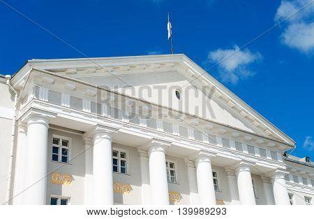 University of Tartu in summertime over sky