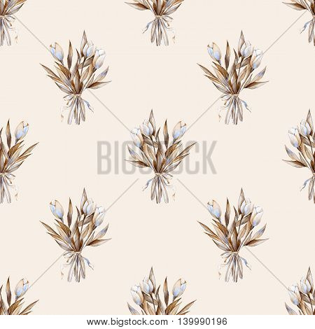 Bouquet. Watercolor seamless pattern. Floral background
