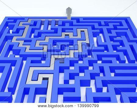 Silver arrow in blue maze. 3d illustration.