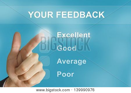 business hand clicking your feedback button on screen