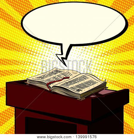 Bible on a wooden pulpit in the Church pop art retro vector illustration. The word of God, the religion of Christianity. Fabulous book of fantasy style