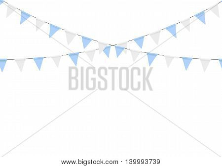 Buntings garlands isolated on white background. Oktoberfest decoration. Decorated in traditional colors of Bavaria.