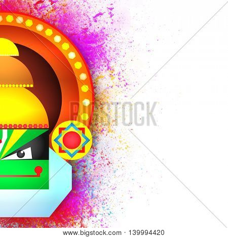 Creative illustration of Kathakali Dancer face on color splash background for South Indian Festival, Happy Onam celebration.